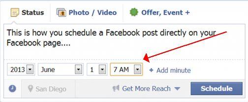 Agendar um post no Facebook
